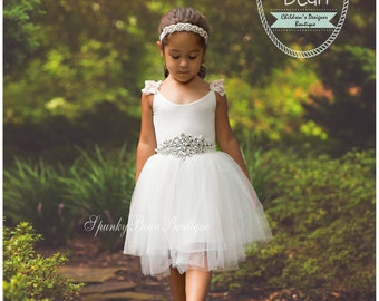 Rustic Flower Girl Dress, Vintage Flower Girl Dress, Photography Toddler, Barn Wedding Country Dress Chiffon Burlap Boho Style