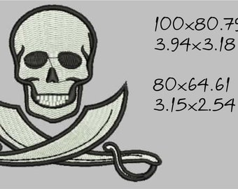 Skull with swords, pirate sign, Jolly Roger, machine embroidery design, instant download