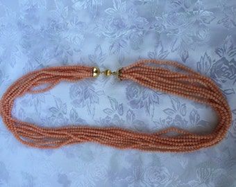 Pink coral necklace 9 wires