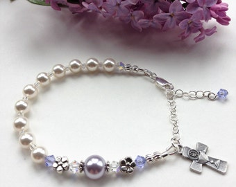 First Communion Rosary Bracelet, Darling Lavender-Periwinkle Flower Bracelet, Swarovski and Pearl, First Communion Gift for Girl