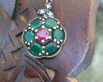 Vintage Turkish Silver Pendant, Turkish Red and Green Gemstones Pendant-Free Domestic and International Shipping