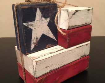 Primitive Rustic Americana Flag