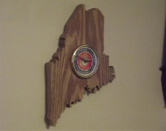 Handcrafted Maine State U.S. Marines Clock Aroostook County