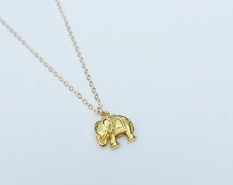 Gold elephant necklace/ Elephant necklace/ Good luck jewelry/ Gift ideas for her/ Good fortune jewelry