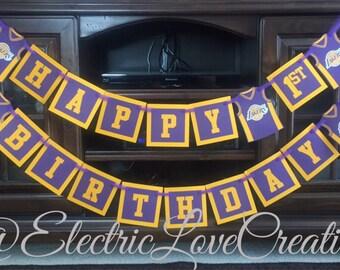 LA Lakers 1st Birthday Banner
