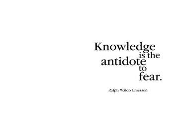 Graduation Greeting Card. Knowledge is the antidote to fear. Ralph Waldo Emerson. modern, digital, printable, black typography