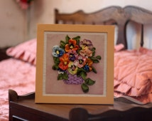Pansies in a basket Hand Embroidery Silk Ribbons 3D Picture Flowers