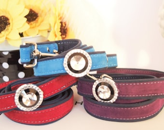 Suedette Jeweled Dog  Collar