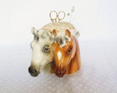 Ceramic Horse Pincushion made from vintage Inarco Japan planter - upcycled recycled repurposed - pincushion with Scissors