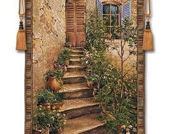 Tuscan Villa II Mid Wall Hanging Fine Art Tapestry