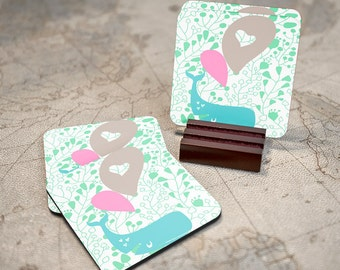 Drink Coasters, Coaster Set of 4  with stand WHALE  coaster set cute pastel Coasters Coasters with wood stand , personalized coaster T90600