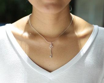 Silver key pendant, Sterling Silver chain,, Silver pendant,  Silver necklace, 925 silver, Bohemian necklace (P 56)