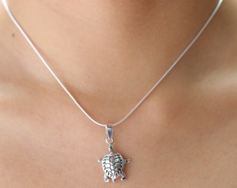 Silver turtle  pendant  , Sterling Silver chain, Silver oxidized pendant,  Silver necklace, 925 silver, Boho necklace  (P66)