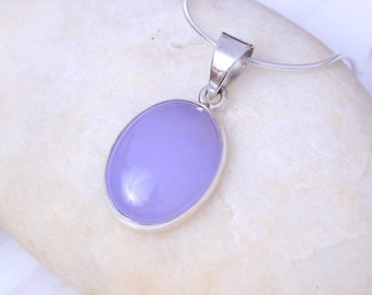 Silver And Amethyst  Pendant, Sterling Silver Chain, Purple Charm,  Silver Necklace, Mauve Stone Charm, Boho Jewelry,(P 106)