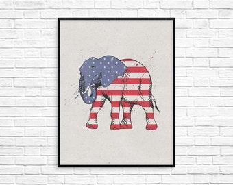Elephant print elephant wall art, digital elephant art watercolour elephant, african animal print, elephant wall decor, elephant nursery art