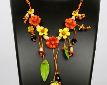Flower Necklace, Leather Flower Necklaces, Purse Charm with beads, Leather Flower beaded necklace, Leather Necklace, Leather Flower, Necklac