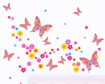 Ditsy Flower Butterflies - Girl's Printed Children's Butterfly Art Vinyl Wall Stickers - Pack of 66 - Designed by Rubybloom Designs
