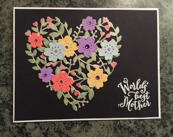Hand Made World's Best Mom Card Die Cut Card Hand Colored Card - 123