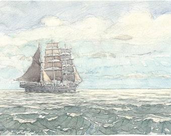sailboat three mast barque (watercolor)