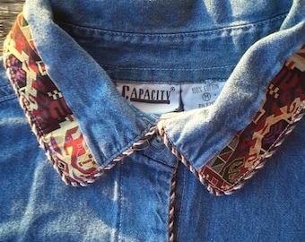 90's denim shirt with tribal braid, medium