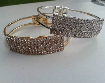 Gold & Silver Plated Crystal Cuff Bangle