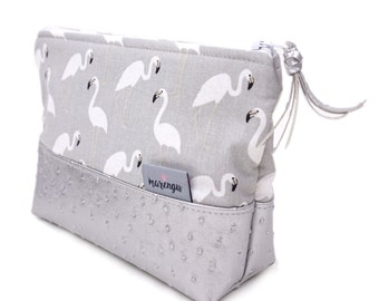 Cosmetic bag * pouch with flamingos