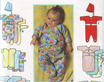Layette Baby Pattern is UNCUT and Contains Sizes Preemie-Large (Size Equivalents in Description). Simplicity 1996