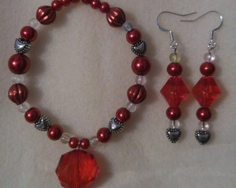 Ruby Dreams Bracelet and Earring Set