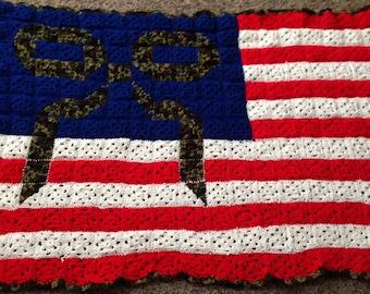 American flag crocheted blanket
