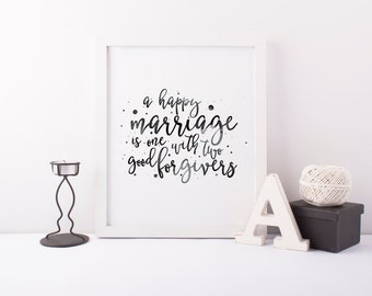 Marriage Art Print - Typography Print - Watercolor Print - First Anniversary Gift - Love Quote Print - Wedding Gift - Home Decor