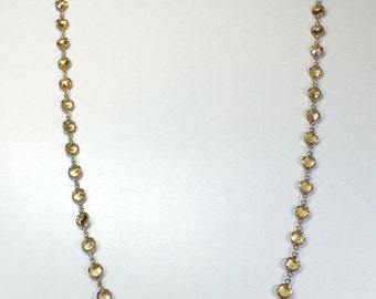 "Raindrops Necklace - Light Topaz/Rhodium 36"" Swarovski crystal"