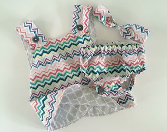 Reversible, Baby Girl Pinafore,  Crossover Dress, and Diaper Cover. Set Zig Zag, Grey, Handcrafted, Cotton 6 mo to 12 mo