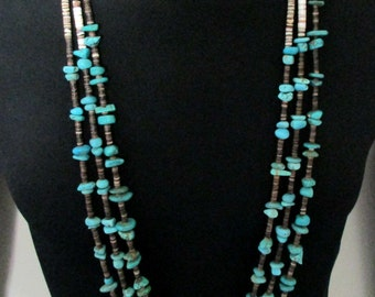 Vintage Navajo Turquoise and Shell Heishi Necklace NUGGETS Triple Strand *T116