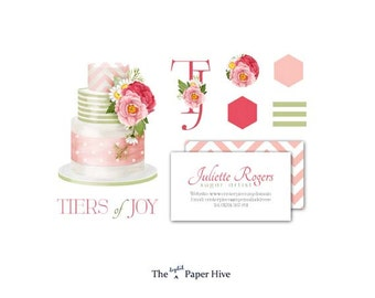 Cake logo - personalised logo - Customized business branding - Premade cake logo design - Pink cake clipart logo - Stickers, business cards
