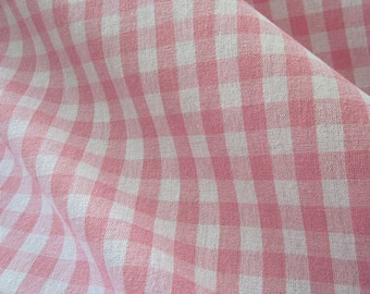 cotton fabric woven check pink white 1cm France