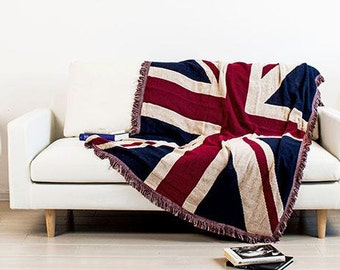Union Jack Blanket /Throw Blanket/Warm blanket/knit blanket/Cotton blanket
