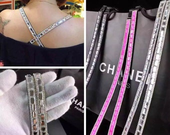Lovely Attractive Bling Bling Colored Crystal Bra Strap, Adjustable