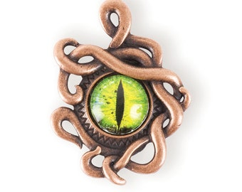 Steampunk Pendant Dragon Eye/ octopus tentacle eye antique copper (STEAM170)