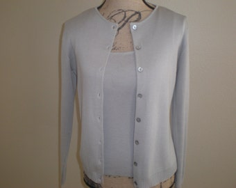 Silver Grey Sweater Twin Set Silk Georgiou Studio Vintage