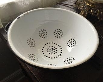 Vintage Enamelware White and Black Colander Graniteware ON SALE!