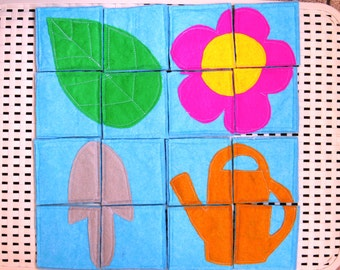 Puzzles, Felt puzzles, Soft puzzles, Garden puzzles, Four pieces puzzles, Quiet book, busy book, educational toy, toddlers activity