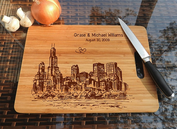 Personalized Cutting Board Chicago city wooden wedding gift wedding ...