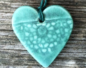 Heart shaped Porcelain necklace with lace imprint handmade
