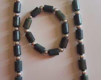 Blue Green Stone Necklace and Bracelet