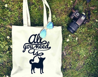 All You Need is Dogs Tote Bag | Shopping Bag | Reusable Market Bag | Birthday Gift For Her & Him | Style Shopper Bag | Beach Grocery Bag