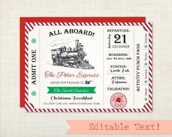 """5""""x7"""" Polar Express Invitation, Christmas Party Invitation, Polar Express Party, Polar Express Ticket, Holiday Party Invitation, Invite"""