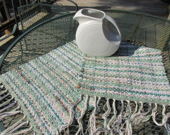 Rag runner, rag rug, hand woven, hand loomed, table runner, dresser scarf, green