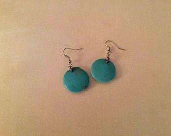 Turquoise dangling pierced earrings