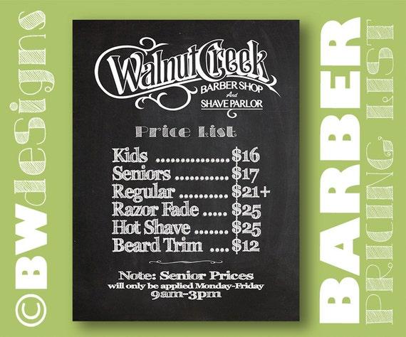 price amp service list barber sign price menu hair salon