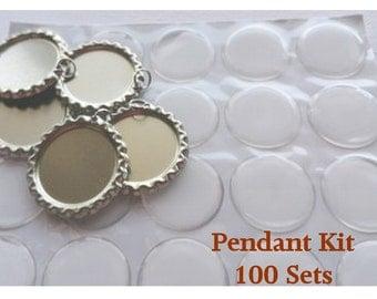 100 Sets, Bottle Cap & Epoxy Sticker Craft Jewelry Kit, Chrome Bottle Caps, Epoxy Dots